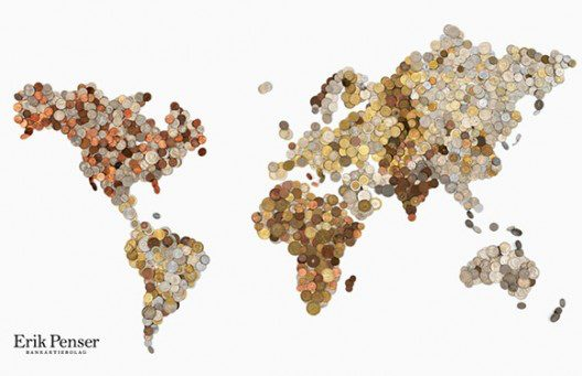 World Map Made of 3,000 Coins