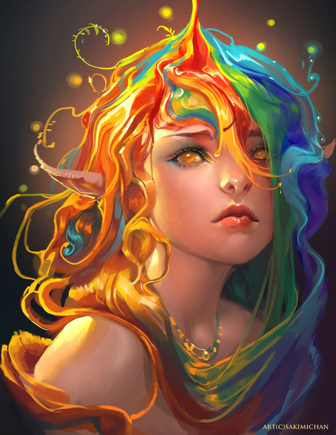 Beautiful and Colorful Digital Art works by Sakimichan – World of