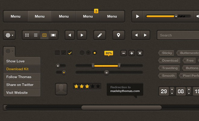 Butterscotch UI Kit PSD