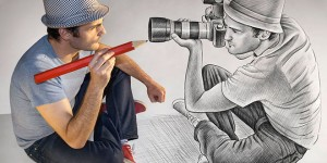 Pencil Drawing Vs Camera - 25 Creative Pencil Drawings by Ben Heine